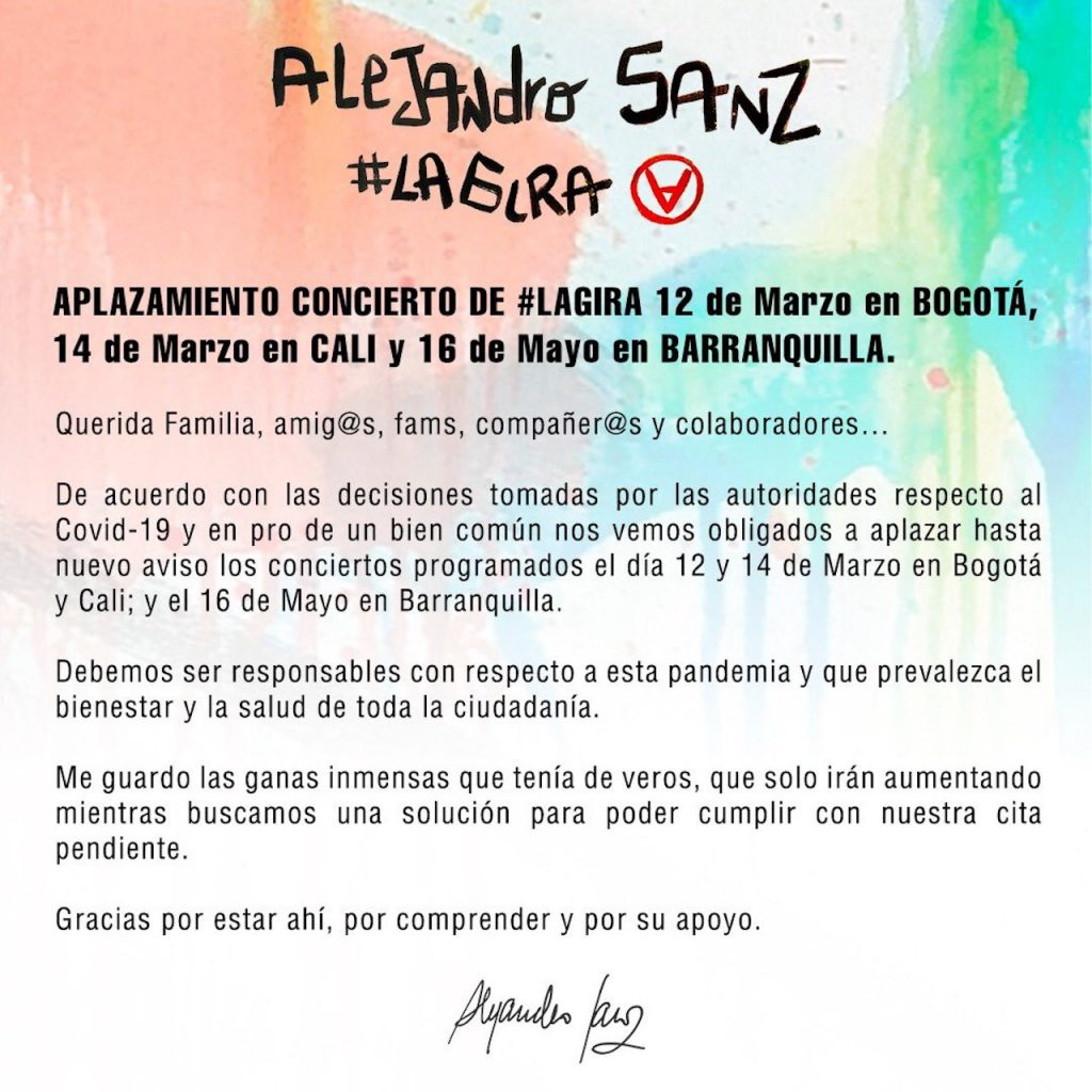 Cancelan conciertos de Alejandro Sanz en Colombia por Covid-19. FOTO Sitio Oficial