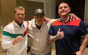 Canelo Álvarez posa junto a su entrenador Eddy Reynoso y Andy Ruiz. (Foto: Instagram)