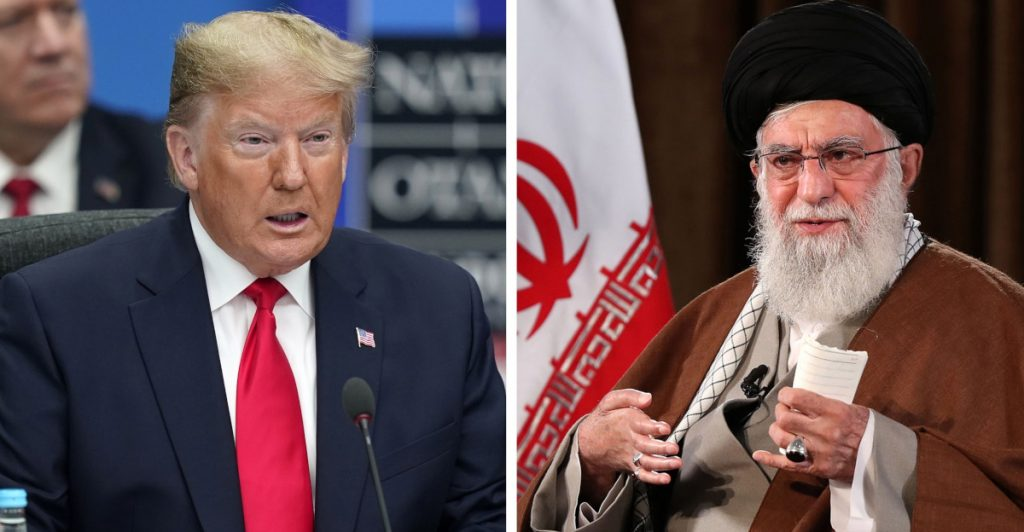 El presidente de los Estados Unidos, Donald Trump (I) durante una Cumbre de la OTAN en Londres. A la derecha, el líder supremo iraní Ali Khamenei