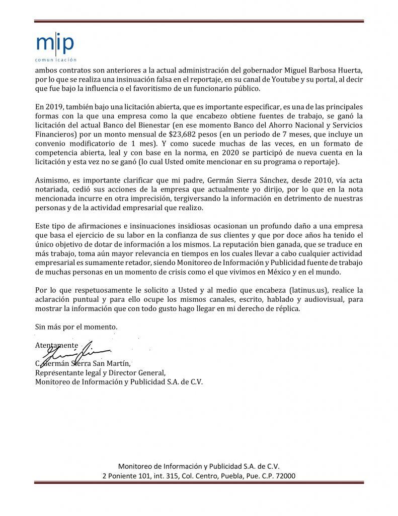 Carta Monitoreo de Información y Publicidad