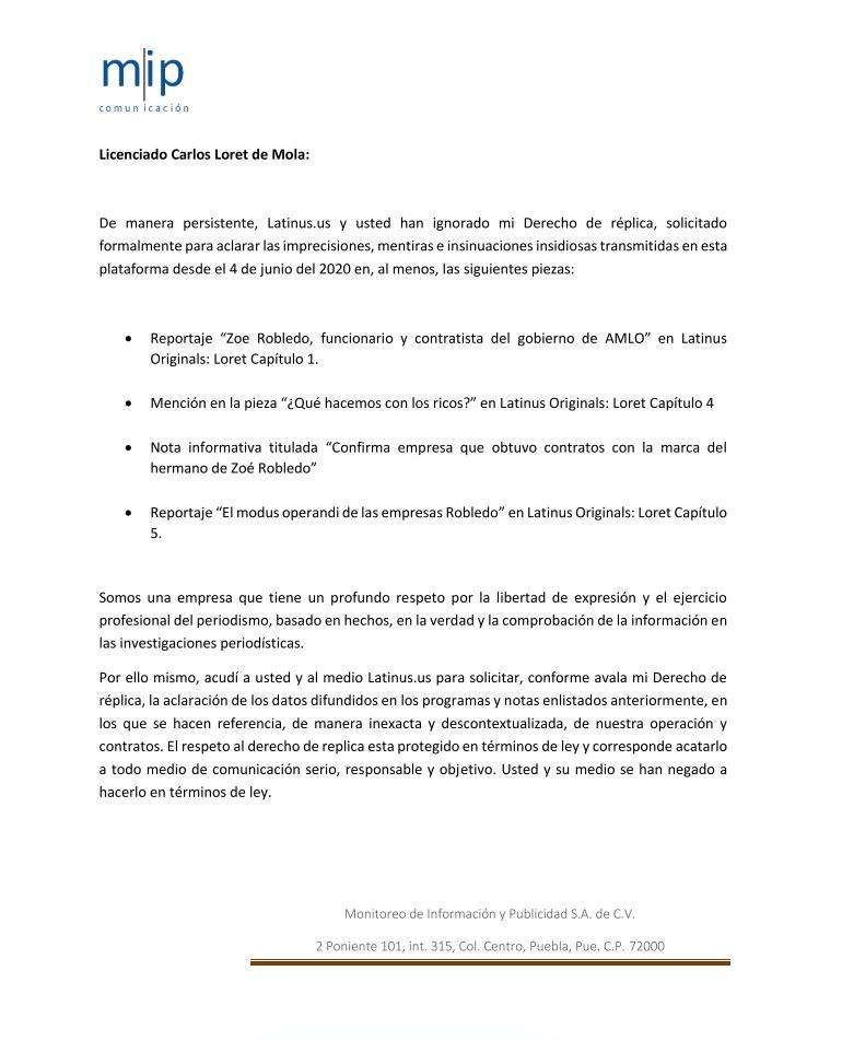 Segunda carta de Monitoreo de información y Publicidad