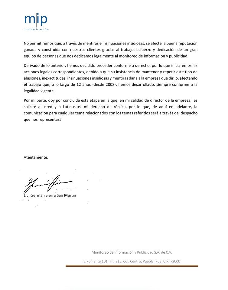 Segunda carta Monitoreo de Información y Publicidad