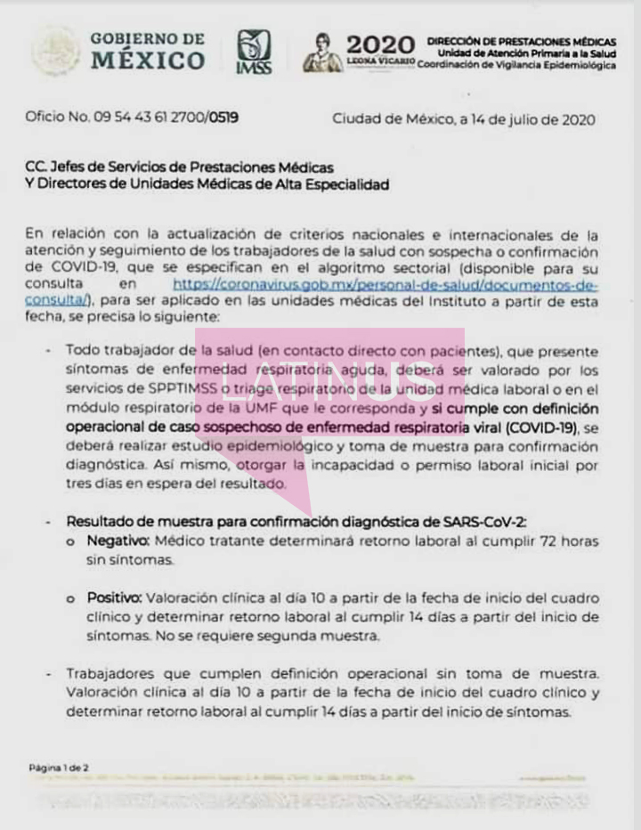 Oficio del IMSS sobre trabajadores con Covid-19