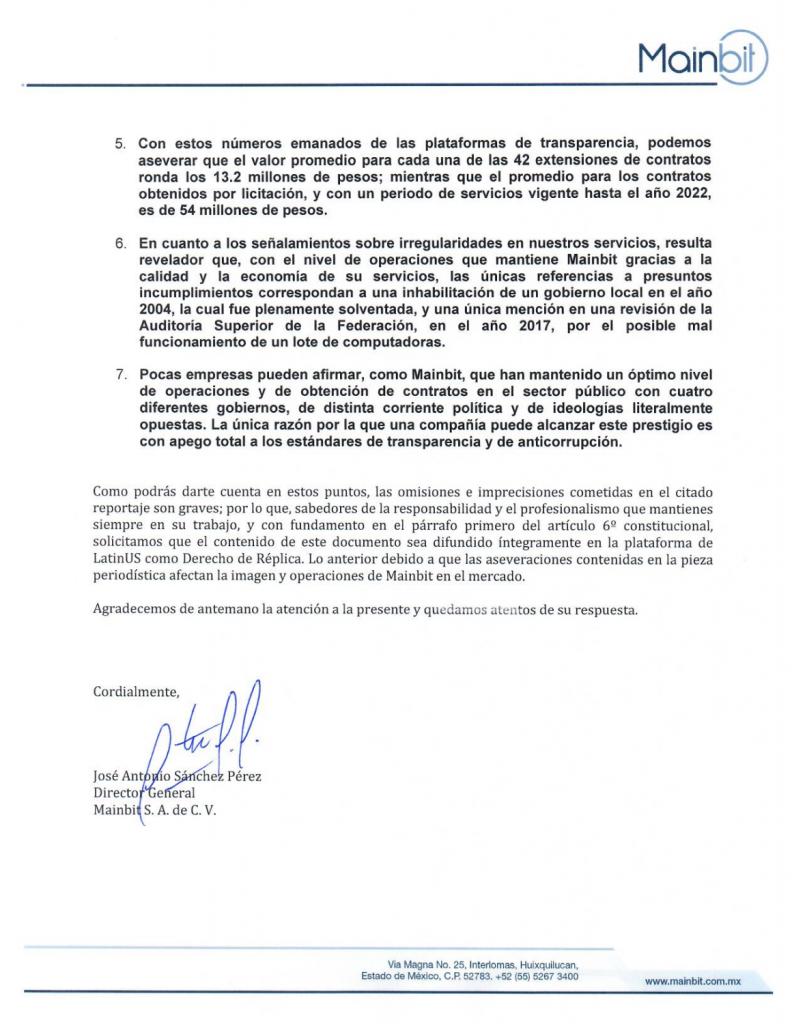 Carta de respuesta de Mainbit al reportaje 'Empresa consentida de Calderón… también de AMLO'