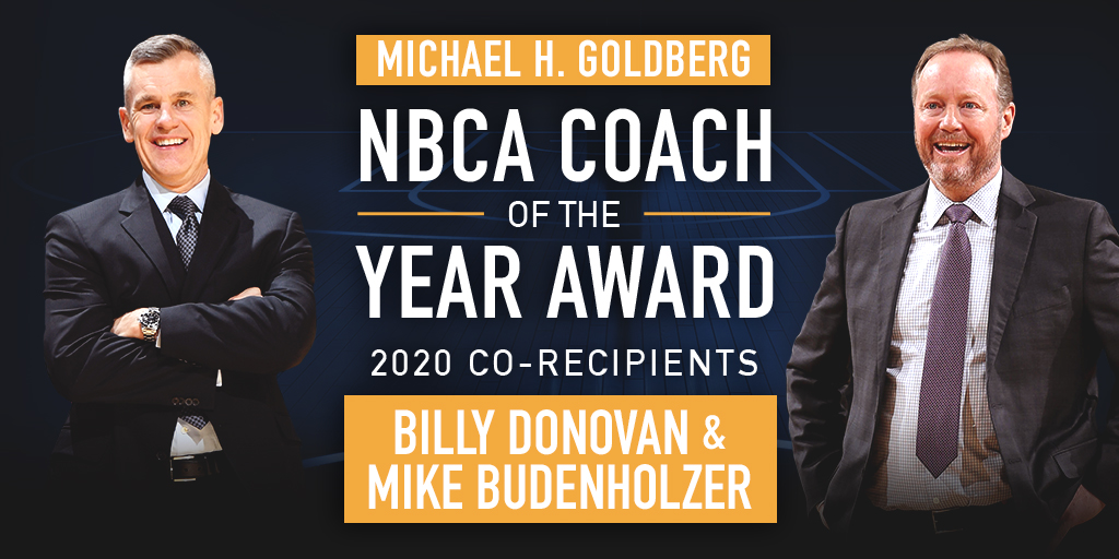 La NBCA eligió a los coaches de Bucks y Thunder como los mejores de la temporada. (Foto: @NBA_Coaches)