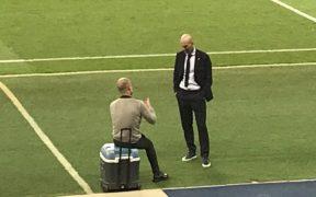 La charla entre Zidane y Guardiola generó comentarios positivos. (Foto: @tjcope)