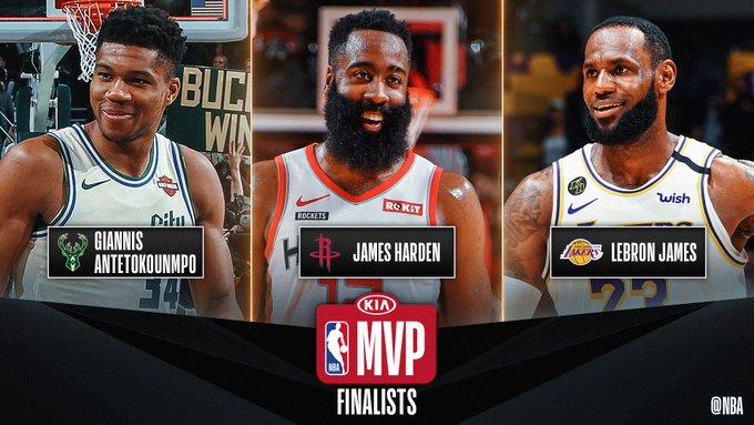 Antetokounmpo, Harden y James, candidatos al MVP de la NBA. (Foto: @NBA)