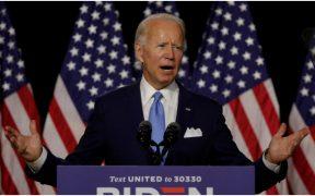 Joe Biden, candidato demócrata a la presidencia de EU, durante un discurso televisivo