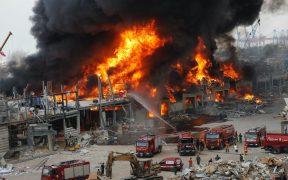 Incendio en puerto de Beirut