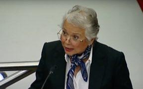 """""""Nos levantamos más cuando sufrimos más violencia"""", dice Sánchez Cordero en el Senado"""