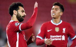 Salah festeja el gol del triunfo del Liverpool ante Midtjylland que lo coloca como líder de grupo.