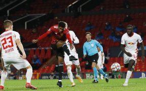 Rashford marca su tercer gol con el Manchester United, que venció 5-0 al Leipzig.