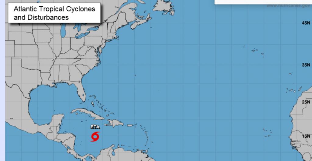 La tormenta 'Eta' se fortalece; podría convertirse en huracán en las próximas horas