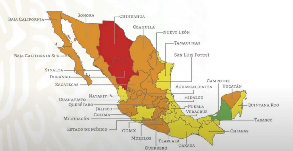 18 estados estarán en semáforo naranja y 11 en amarillo a partir de la próxima semana
