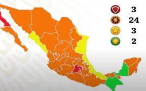 Tres estados estarán en semáforo rojo y 24 en naranja la próxima semana