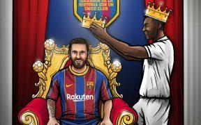 Messi igualó la marca de goles con un solo club que tenía Pelé, con 643. Foto: FC Barcelona