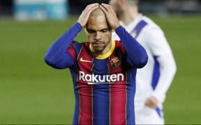 Martin Braithwaite lamenta la falla de un penalti ante el Eibar. Foto: Reuters