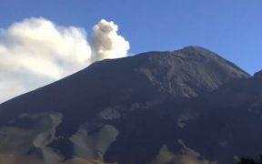 Volcán Popocatépetl registra incremento de actividad