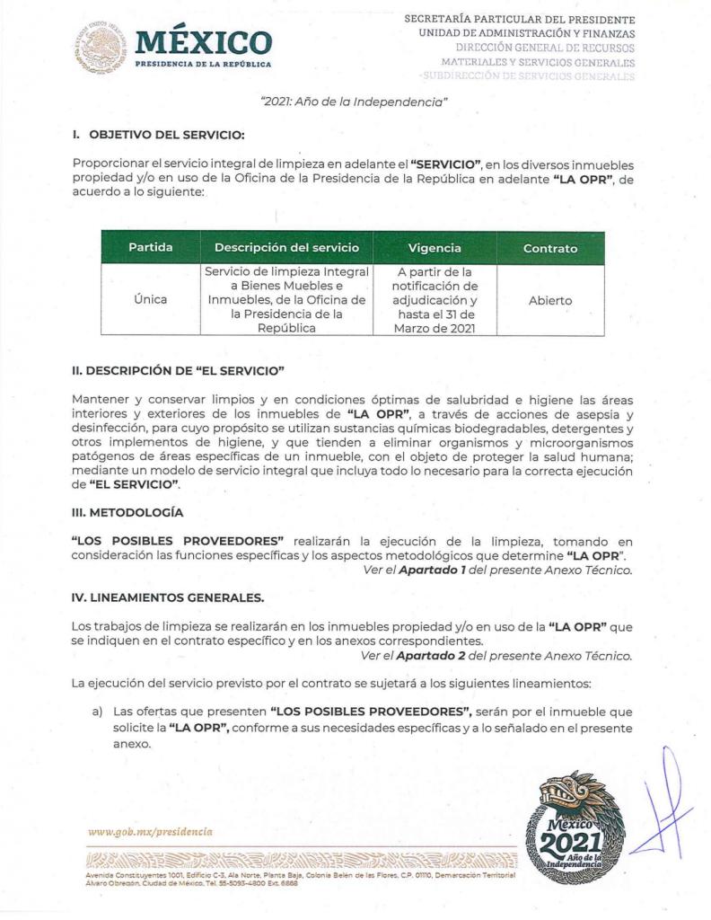 Pese a declaraciones de AMLO, buscan servicio de limpieza para Palacio Nacional por outsourcing