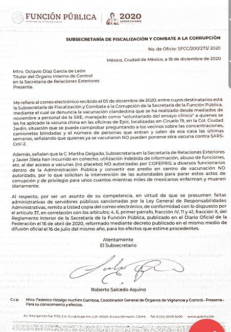 Acusan a subsecretaría Martha delgado de vacunación clandestina a funcionarios; SFP pide a SRE investigar