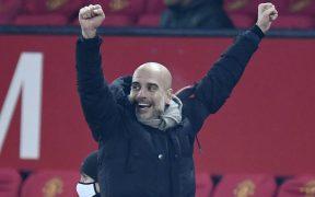 Pep Guardiola., técnico del Manchester City, celebra una acción de su equipo. Foto: Reuters