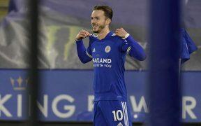 James Maddison celebra el 2-0 del Leicester sobre Chelsea. Foto: EFE