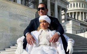 JLO y Alex Rodríguez se fotografían como supermodelos frente al Capitolio tras investidura de Biden