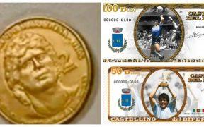 Las monedas ya circulan en el pueblo, que también imprimirá billetes con imágenes de Maradona. Foto: Diario Olé