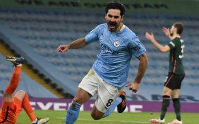 Gündogan celebra el tercer gol del City ante Tottenham. Foto: Reuters