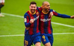 Messi celebra el 0-2 con Braithwaite. Foto: FC Barcelona