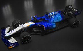 El monoplaza FW243B de Williams que participará en la temporada 2021 de F1. Foto: @WilliamsRacing