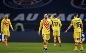 Messi, desconsolado tras la eliminación del Barcelona. Foto: Reuters