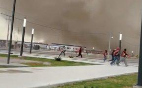Por tolvanera, evacuaron sitio de construcción del aeropuerto de Santa Lucía