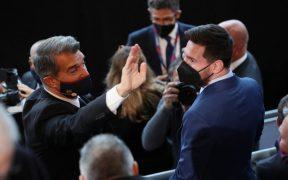 Laporta dedicó una parte de su discurso al futuro de Messi. Foto: Reuters
