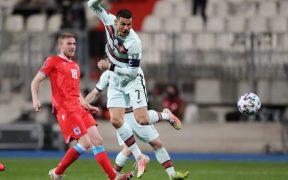 Así marcó Cristiano Ronaldo frente a Luxemburgo. Foto: Reuters
