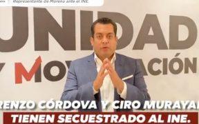 Córdova y Murayama tienen secuestrado al INE: representante de Morena