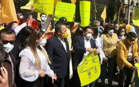 PRD protesta en Segob y exige liberar a su candidato Rogelio Franco