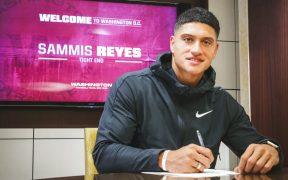 Sammis Reyes firma su contrato con Washington. Foto: washingtonfootball