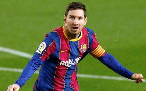 Messi celebra su doblete frente al Getafe. (Foto: EFE).