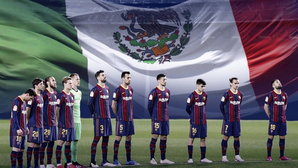 El Barcelona publicó una imagen con la bandera mexicana de fondo. (Foto: FC Barcelona).