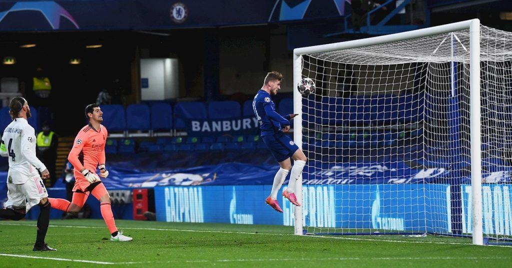 Werner marcó así el 1-0, tras un tiro de Pulisic al travesaño. (Foto: Reuters).