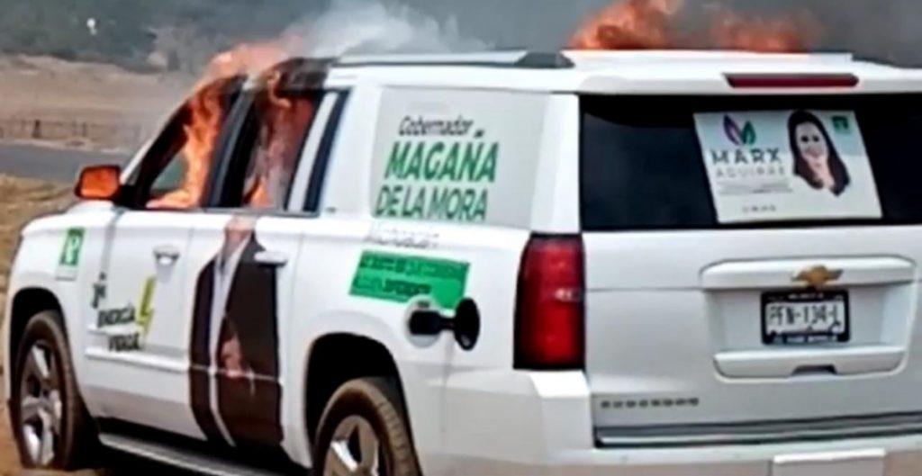 grupo-armado-roba-quema-camioneta-partido-verde-michoacan