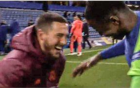 Hazard, 'feliz' tras la eliminación del Real Madrid. (Foto: Captura de video).