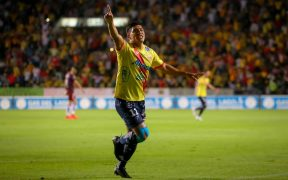 Gael Acosta celebra el gol del Morelia. (Foto: @JTREJO77).