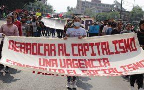 Piden liberación de 95 normalistas de Chiapas con marcha al Zócalo