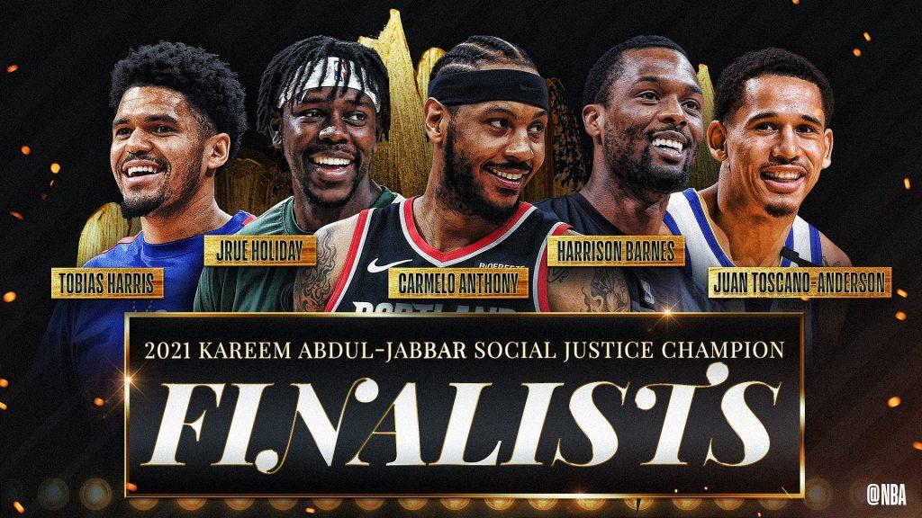Los cinco finalistas al premio Kareem Abdul Jabbar de la NBA. (Foto: @NBA).