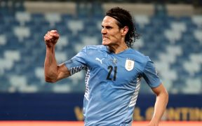 Cavani celebra el segundo gol de Uruguay ante Bolivia. (Foto: EFE).