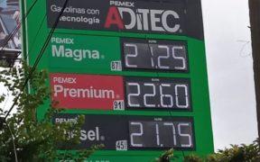 Precio promedio de la gasolina premium marca récord de 22.39 pesos; en un año ha subido 16%, revela Profeco