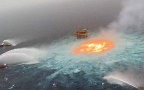 Tormentas eléctricas y fuga de gas ocasionaron incendio en el mar: Pemex