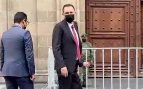 Mauricio Kuri, gobernador electo de Querétaro, llega a Palacio Nacional para encuentro con AMLO